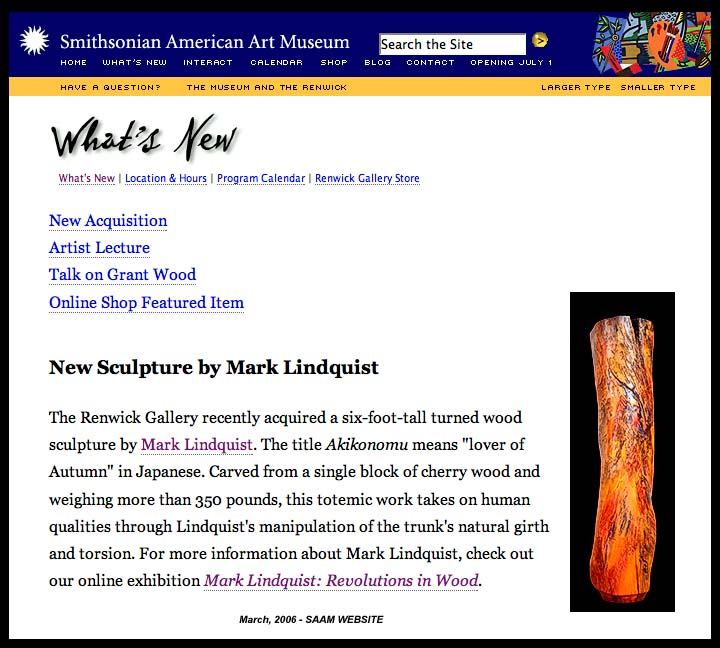 SMITHSONIAN AMERICAN ART MUSEUM ACQUIRES MARK LINDQUIST WOOD SCULPTURE - GIFT TO RENWICK GALLERY BY JANE AND ARTHUR MASON