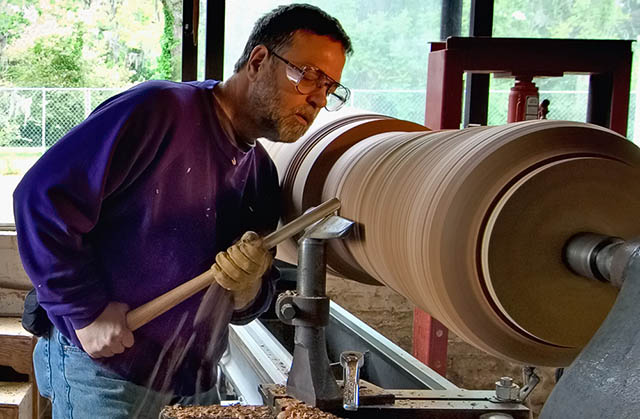 Mark Lindquist turning on his retrofitted pattern maker's lathe